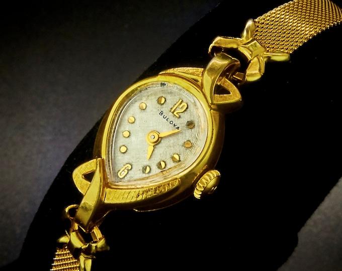 "Vintage 1968 Bulova ""First Lady"" Cocktail Watch, 10k Gold Plated Marquise Teardrop,Swiss Luxury Designer, Heirloom Estate Jewelry"