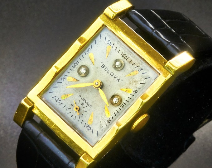 "Stylish 1940 Bulova ""Diamond Dial Tuxedo"" Men's/Unisex Tank Watch • 10k Rolled Gold Plate with 3 Old Mine Cut Clear Round Diamond Markers"