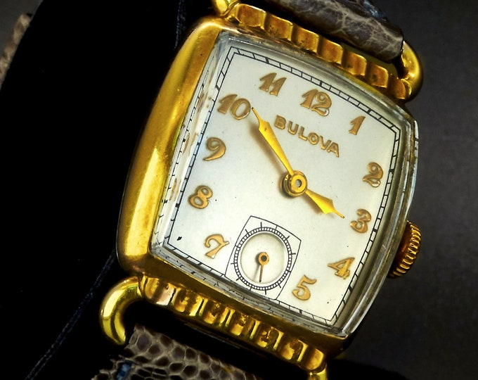 """Hollywood Elegance 1942 Bulova Rose Gold """"Senator"""" Men's/Unisex Tank Watch • 14k Rose Gold and Bronze Dial with Sub Seconds • Estate Jewelry"""
