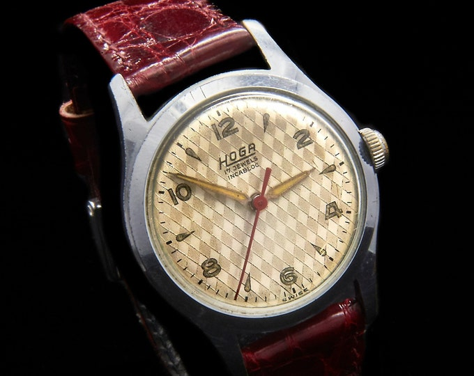 Vintage Hoga 1960s Midsize Shiny Silver Round Mechanical Watch •Handcrafted in Switzerland • Mid Century Modern