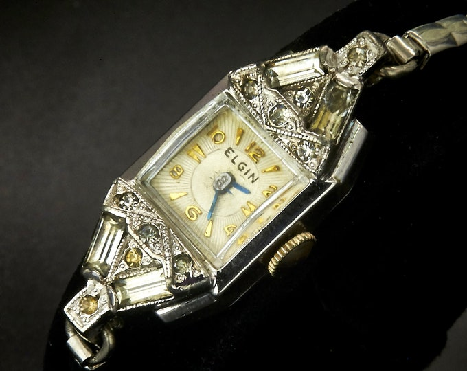 Fancy 1940s Elgin 14k White Gold Plate Simulated Diamond Marquise Cocktail Watch • Art Deco Estate Heirloom Jewelry