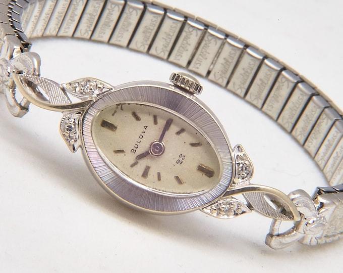 "Vintage 60s Solid Gold Diamond Cocktail Watch • Bulova 1967 ""Lady Petite"" Women's Luxury Timepiece • 4 diamonds • ~4.3g 14k White Gold"