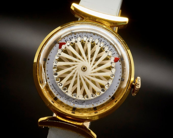 Vintage Swirling! Trippy! 1975 Ernest Borel Gold Plated Kaleidoscope Cocktail Watch • Jeweled Crystal • Mid Century Modern Heirloom Jewelry