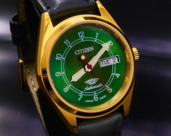 1970s Vintage Citizen Automatic Men's Gold Watch • Hand-built Custom Mod Restoration • Green Dial • Choice of Leather Watchbands