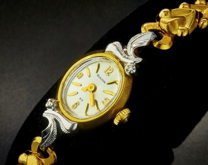 "1973 Bulova ""La Petite OA"" Ladies Oval Watch with 2 Diamonds • Two Tone Gold Plate • GF Bracelet • Womens Antique Estate Heirloom Jewelry"