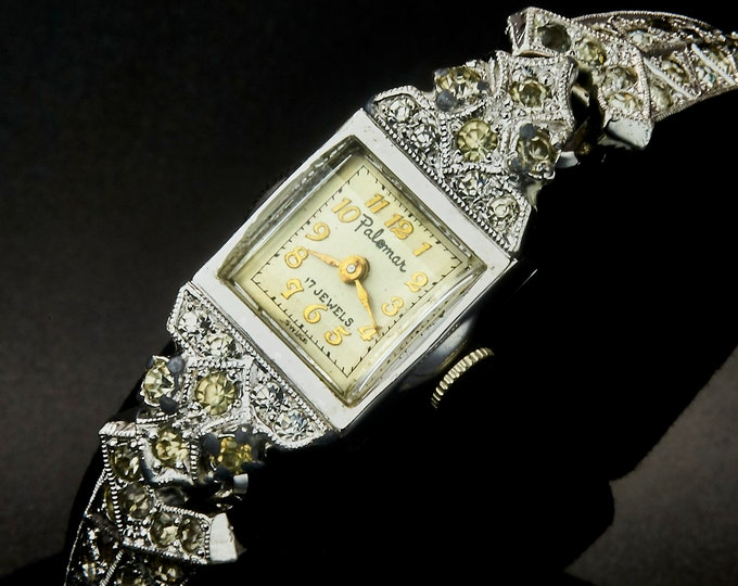 Ultra Ornate 1950s Bejeweled Palomar Marquise Cocktail Watch • Silver Tone Ladies Heirloom Wristwatch • Mid Century Antique Estate Jewelry