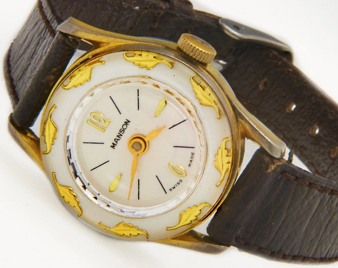 1960s Manson Swiss White Round Watch • Gold Leaves Around Edge • Radial Patterned Dial • Vintage Mid Century Modern Heirloom Estate Jewelry