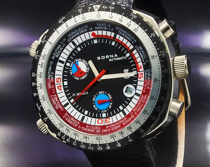 Retro men's diving watch • huge automatic unisex Sorna (Breitling) watch • tachymeter, world clock, day/date/month