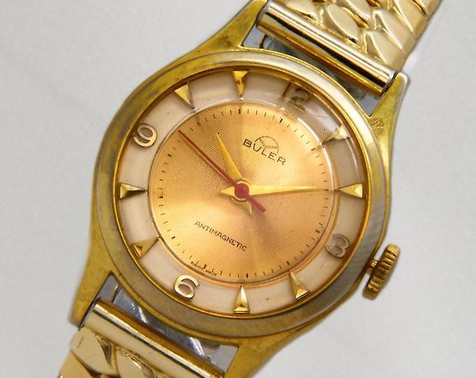 1960s Buler Gold Watch, Vintage Mid Century Modern Design, Heirloom Estate Jewelry, Men's Midsize or Unisex, Swiss Hand-Winding