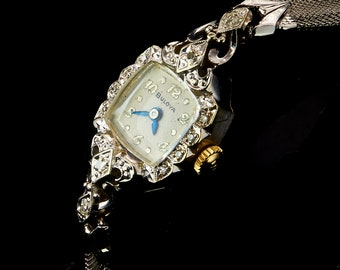"Solid 14k Bulova White Gold Lady ""Diamond La Petite"" Watch, Vintage 1950s Marquise Cocktail Bracelet, Womens Antique Estate Heirloom Jewelry"