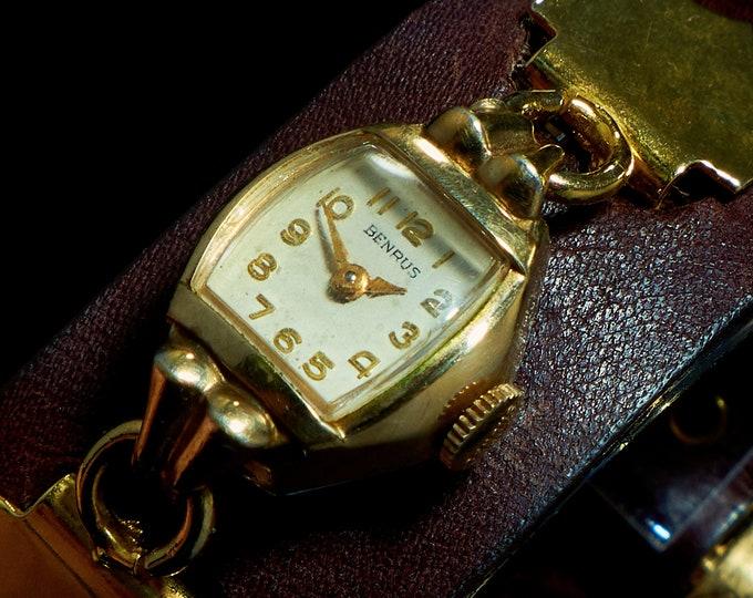 1940s Benrus Antique Cocktail Watch | Custom Steampunk Leather Cuff Bracelet | Full Mechanical Restoration