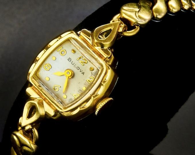 Elegant! Dainty! 1954 Bulova 10k Gold Plated Marquise Cocktail Watch • GF Expansion Bracelet • Vintage Mid Century Estate Heirloom Jewelry