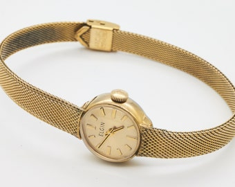 b9d3280a2 Vintage 1960s Elegance! - womens cocktail watch - gold plated, signed Elgin  mechanical - serviced with warranty