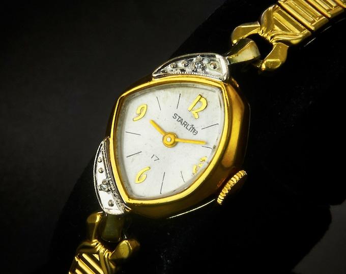 Funky Vintage 1960s Two-Tone Gold Plate Diamond Starlite Asymmetric Cocktail Bracelet Watch • Mid Century Modern Heirloom Estate Jewelry