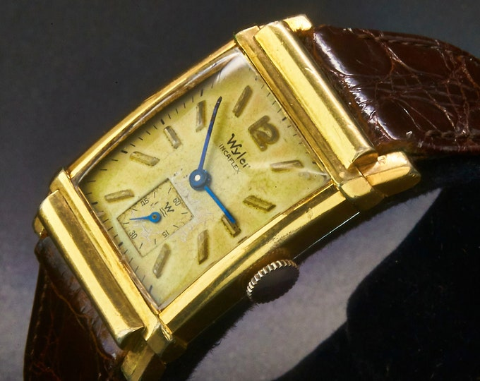 1940s Wyler 10k Yellow Gold Filled Curved Tank Watch • Sub Seconds Dial • Hirsch Ladies Dark Brown Leather Band •  Heirloom Estate Jewelry