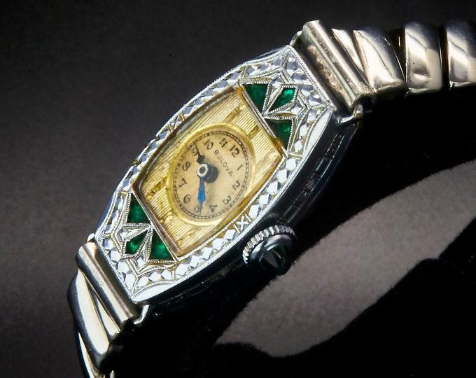 "1930 Art Deco Bulova ""Miss America"" Watch, Ornate Emerald Green Jeweled, 14k White Gold Filled Case, Womens Antique Estate Heirloom Jewelry"
