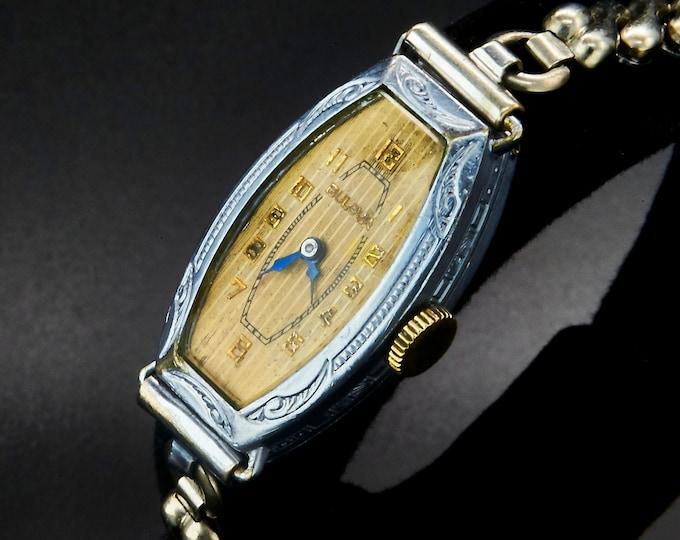 "1930 Art Deco Bulova ""Collegiate"" Watch, Ornate Hand-Etched Silvery Case, Womens Antique Estate Jewelry, White Gold Filled Bracelet"