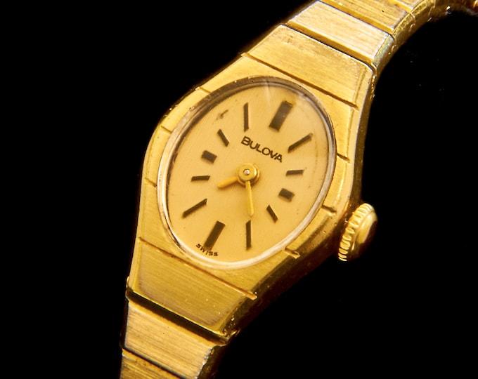 Vintage 80s Bulova Gold Cocktail Watch • Retro Mechanical Custom Retrofit • For Fancy Pants Ladies • Modern 1980s Aesthetic Jewelry