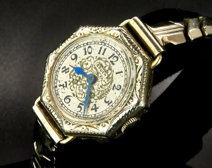 Super Ornate 1960s Gruen 419A Marquise Cocktail Watch, • White Gold Filled Ladies Heirloom Wristwatch • Mid Century Antique Estate Jewelry