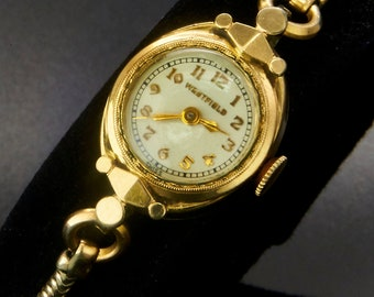 1946 Westfield by Bulova, 10k Yellow Gold Plated Marquise Ladies Cocktail Watch, Gold Filled Rope Bracelet, Vintage Heirloom Estate Jewelry