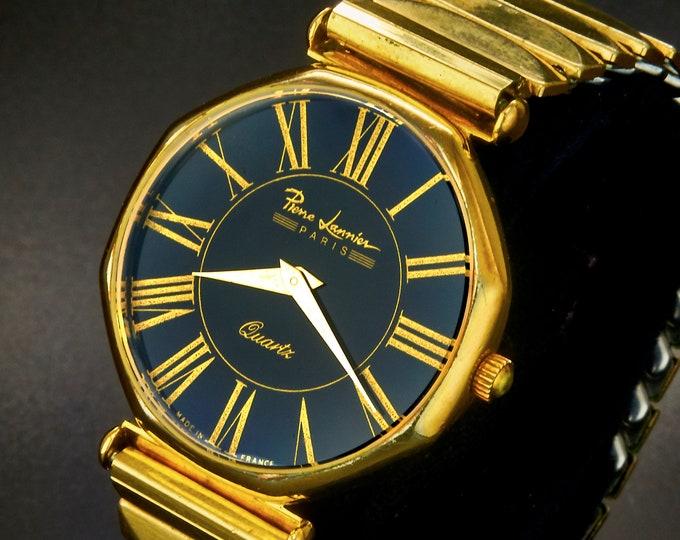 Fantastic! Unique Men's Pierre Lannier Gold Plated Octagonal Quartz Watch • Bold Black Dial • Vintage 1950s Gold Plated Stretch Bracelet