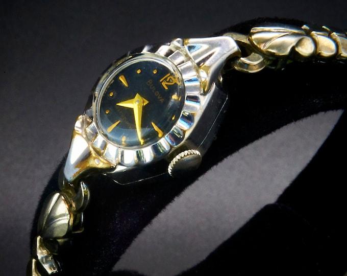 Amazing! 1954 Lady Bulova E  10k White Gold Filled Marquise Cocktail Bracelet Watch / Mid Century Modern / Women's Heirloom Estate Jewelry