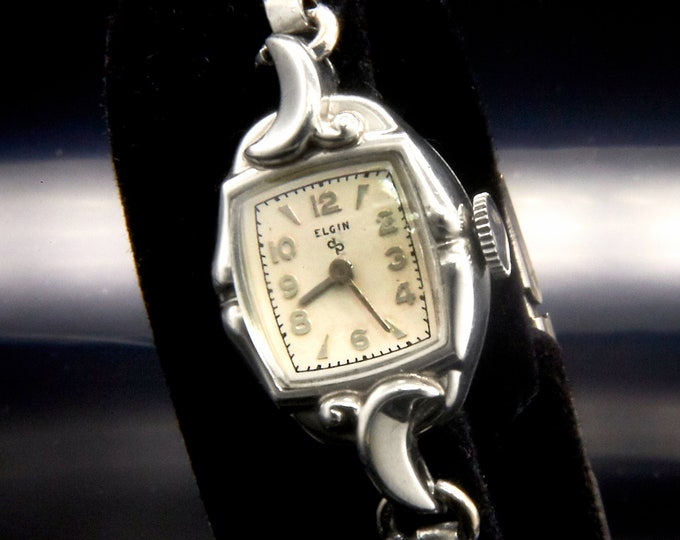 Vintage 1951 Lady Elgin White Gold Cocktail Bracelet Silvery Watch • Dainty 1950's Mid Century Modern •Women's Heirloom Estate Fine Jewelry