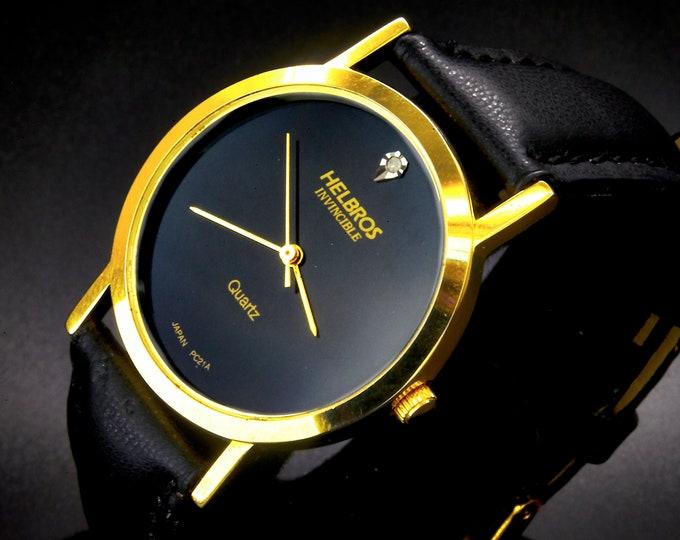 "Vintage 1980s Helbros ""Invincible diamond quartz 9918 IN"" Mens/Unisex Round Watch •Japanese Quartz Movement • Classic 80s Minimalist Design"