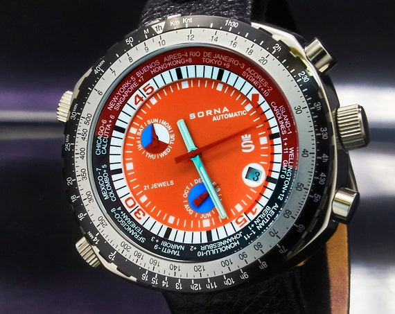 Retro Automatic SORNA (Breitling) GMT World Time Watch • Vintage Style Men's Diving Watch • Tachymeter, World Clock, Premium Black Leather
