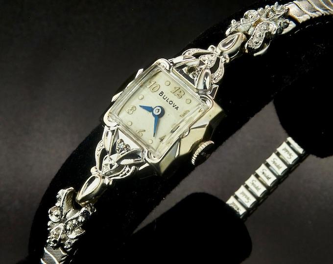 "Dainty 1954s Bulova Diamond ""Goddess of Time D"" Women's 10k Rolled White Gold Bracelet Watch / Mid Century Modern Estate Heirloom Jewelry"