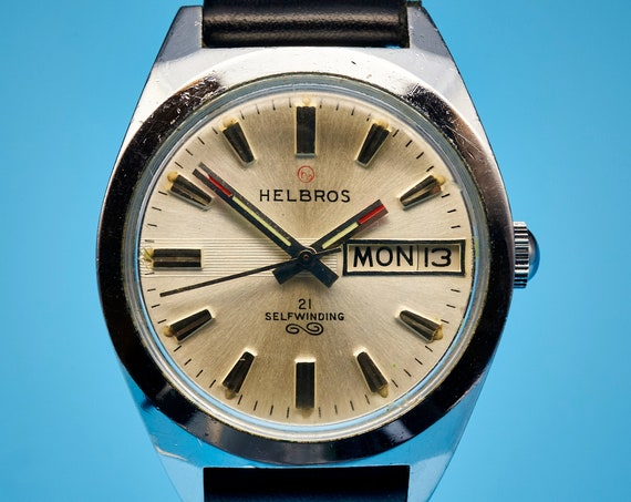 Helbros 1960s Unisex Shiny Steel Watch | Automatic Selfwinding | 60s Mod Aesthetic | Full Mechanical Restoration