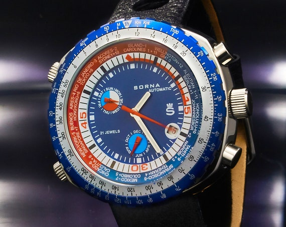 Retro Automatic SORNA GMT World Time Watch • BLUE • Vintage Style Men's Diving Watch • Tachymeter, World Clock, Premium Black Leather