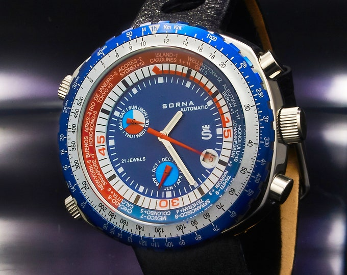 Retro Automatic SORNA GMT World Time Watch • BLUE • Vintage Style Men's Diving Watch • Tachymeter, World Clock • Premium Black Leather Band