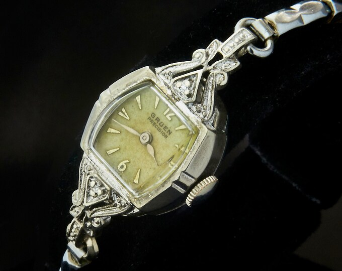 Elegant 1956 Gruen 215-978 Diamond Cocktail Watch • White Gold Filled Ladies Heirloom Wristwatch • Mid Century Antique Estate Jewelry