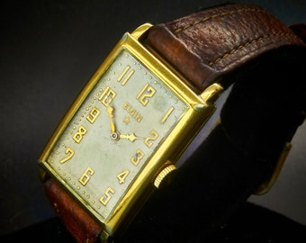 1936 Limited Edition Elgin 483 14k Yellow Gold Filled Curved Tank Watch, Unisex, Vintage Luxury Heirloom Estate Jewelry