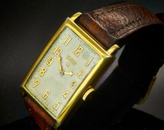 1936 Limited Edition Elgin 483 14k Yellow Gold Filled Curved Tank Watch • Unisex • Vintage Luxury Heirloom Estate Jewelry