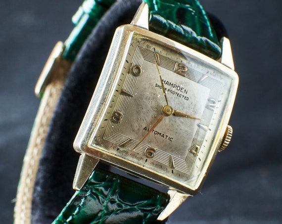 CLASSIC Mid-century/Art Deco Men's Watch - Gold Filled Hampden Automatic Watch circa 1949 - green leather band - Warranty