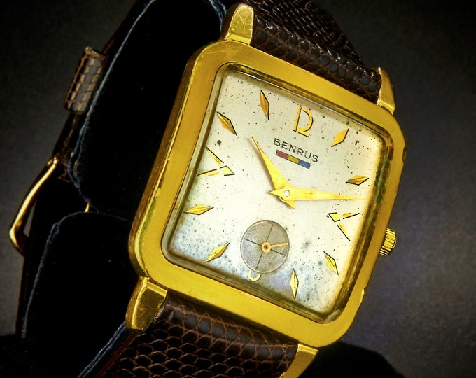 Vintage Square Benrus 20 Micron Gold Plate Watch •Man's/Unisex •Circa 1955 Mid Century Modern Mechanical • Brown Lizard 18mm Band