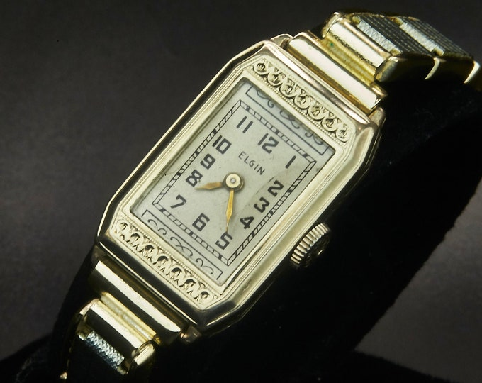 Vintage 1920s Elgin Women's Luxury Cocktail Watch • 14k White Gold Filled Tonneau Hand Case with Hand Carved Bezel and Ornate Dial