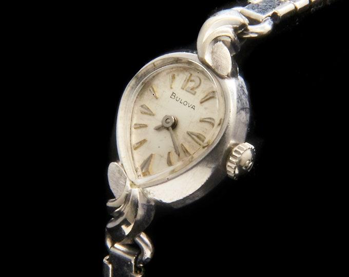 "Vintage 70s Bulova Cocktail Watch • 1970 ""First Lady"" • White Gold Asymmetric Teardrop • Swiss Luxury Designer • BONUS Extra Bracelet"