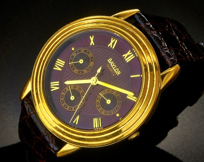 SPECTACULAR! 1980s Baylor M441B/MN Quartz Watch • Cordovan Purple, Gold Accents • Three Sub Dials • Heirloom Estate Jewelry