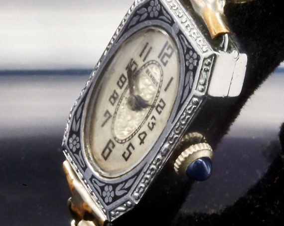 1920s Art Deco Ladies Benrus Watch • Sapphire Winding Crown • Post WWI Estate Heirloom Jewelry for Flappers & Great Gatsby Party Outfits