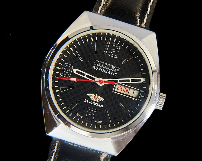 Bilingual! Vintage 1970s Men's Automatic Citizen Watch • Angular Tonneau • Black Checkerboard Dial • Day/Date • New Oxblood Leather Band