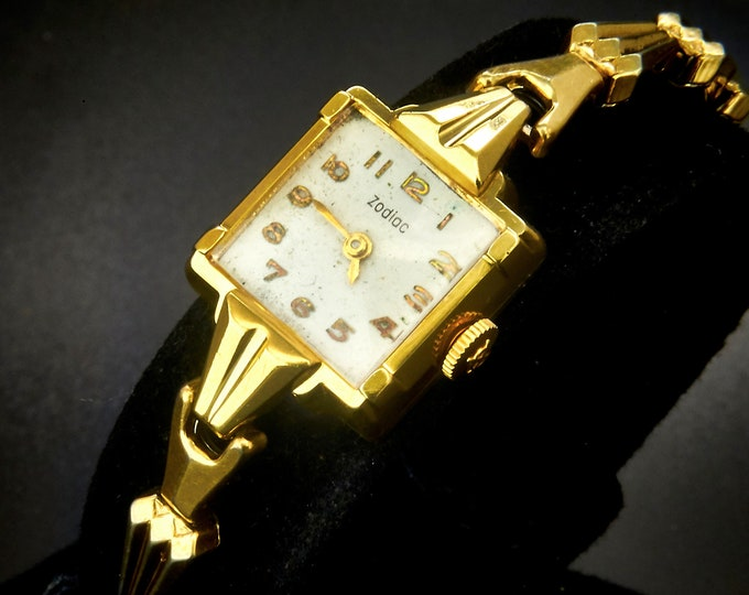 Solid 14k Gold 1959 Vintage Zodiac Cocktail Watch, Square Ladies Bracelet Watch, Solid Yellow Gold Heirloom Estate Jewelry