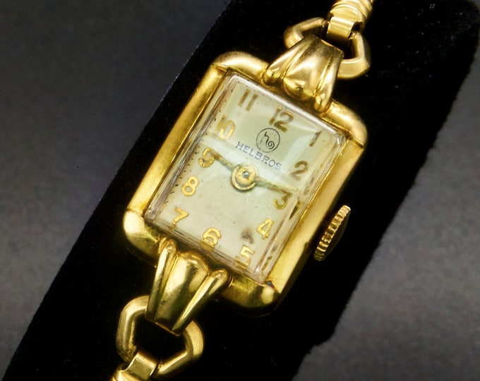 Rectangular 1950s Helbros 10k Yellow Gold Plated Marquise Ladies Cocktail Watch • GF Rope Bracelet • Vintage Heirloom Estate Jewelry
