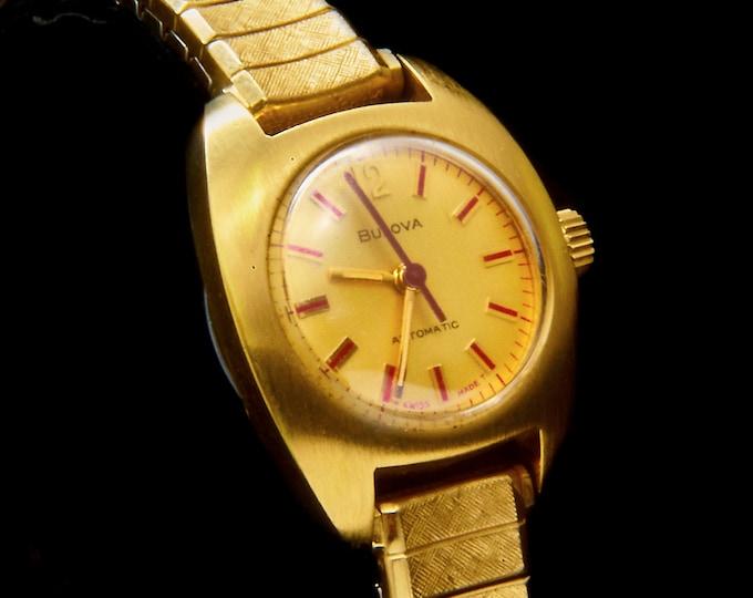 "Vintage 1975 Bulova ""Lady of Fashion BQ"" Dainty Gold Watch • Self Winding • 10k RGP Expansion Bracelet • Womens 70s Estate Heirloom Jewelry"