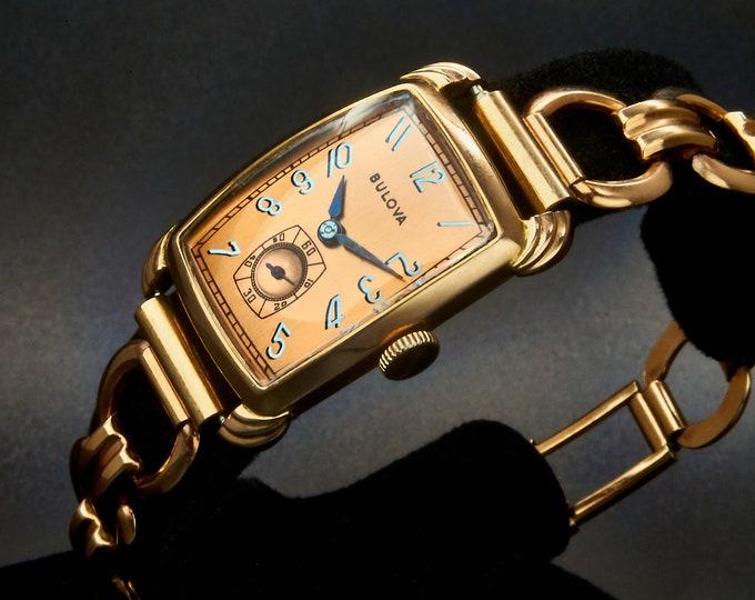 "Glamour, Elegance, Style! 1948 Bulova ""Spencer"" Men's/Unisex Tank Watch • 14k Rose GP, Bronze Dial, Sub Seconds • ORIGINAL GF Link Bracelet"