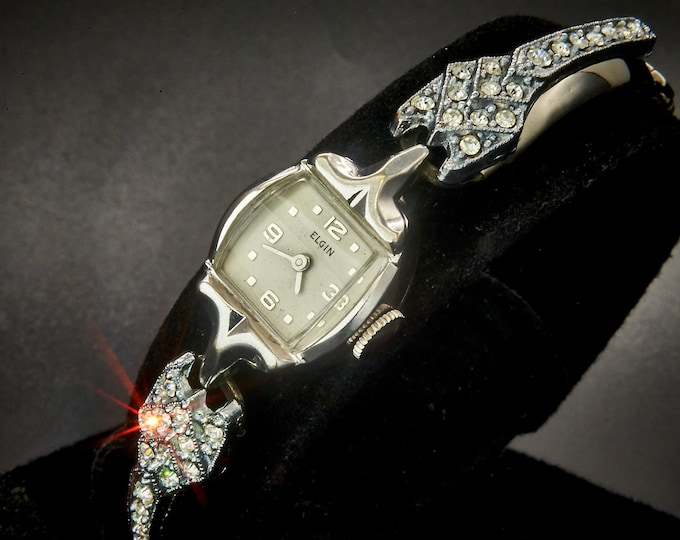 1950s Elgin 771 10k Rolled White Gold Filled Marquise Cocktail Watch • FANCY Jeweled White Gold Filled Bracelet • Estate Heirloom Jewelry