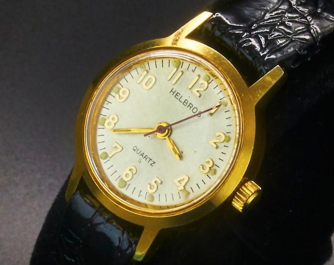 "Vintage 1987 Helbros ""72081/2 Y481 87-2"" Ladies Round Quartz Watch •Classic 80s Design •Heirloom Estate Jewelry"