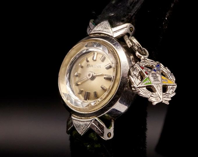 Dainty 1960s Mid Century Modern Bulova Cocktail Watch   Vintage Freemason Jewelry   White Gold Plated